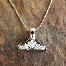 925 Sterling Silver Plumeria Whale Tale (L) Pendant Hawaiian Jewelry SP31101
