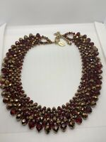 Chicos Red AB Bead Glass Collar Statement Necklace