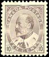 Canada #93 mint F-VF OG HR 1903 King Edward VII 10c brown lilac CV$500.00