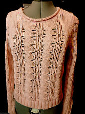 Nwt WET SEAL Sweater top women S Peach Pink cable knit Boho Semi sheer Summer LS