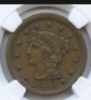 Braided Hair Large Cent- 1853- (almost Uncirculated) AU 55- NGC Graded!