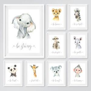 Safari Animal Baby Nursery Prints Set Childrens Bedroom Wall Art Pictures Decor