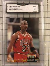 1992-93 STADIUM CLUB MICHAEL JORDAN MEMBERS CARD #210 GMA 9  MINT $$$ GOAT
