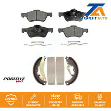 Front Rear Semi-Metallic Brake Pads Drum Shoes Kit For Ford Escape Mercury Mazda