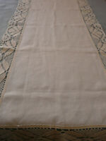 French Antique Edging Tablecloth Table Runner Bobbin Lace Linen Puy en Velay