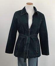 Lee Sz M Belted Denim Coat Quilted Lining Zip Front Warm Blue Jean Coat Womens M