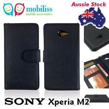 Black PU Leather TPU In Wallet Case Cover for Sony Xperia M2 + Screen Protector