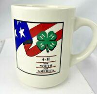 VINTAGE 4H CLUB  COFFEE CUP MUG 4 Leaf Clover Flag Youth for America