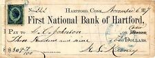 FIRST NATIONAL BANK OF HARTFORD CONN, REVENUE STAMP,1877,CHECK
