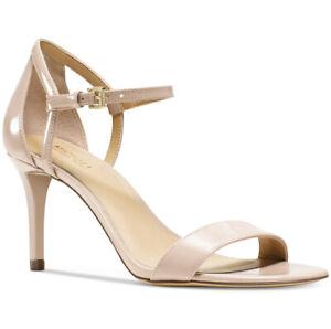 NIB Size 10 Michael Kors Simone Mid Patent Leather Lt Blush Sandals Heels