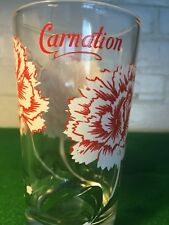 VINTAGE PEANUT BUTTER GLASS CARNATION RED AND WHITE FIVE INCH BEAUTIFUL COLORS!