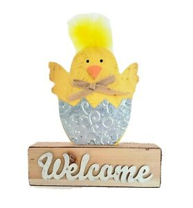 Spring Rustic Decor Wooden Chic W Fuzzy Yellow Hair Welcome Sign