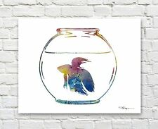 Beta Fish Abstract Watercolor Painting Art Print by Artist DJ Rogers