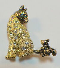 Kitten Cat And Mouse Rhinestone Bling Pin Brooch Broach