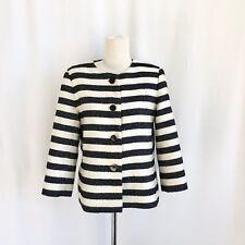 Talbots Petites 8P Black/white Stripe Lined Textured Collarless Blazer/jacket