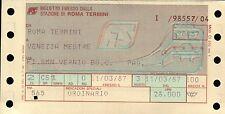 BIGLIETTO DEL TRENO FERROVIE F.S. = ROMA T. / VENEZIA MESTRE 1987 -  (C10-903)