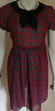 PRIMARK RED/BLACK CHECK TWO PIECE  COLLAR DRESS SZE  6,10 &12 BNWT