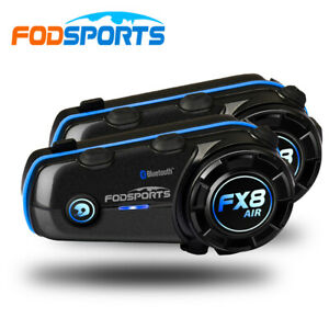 2X Motorcycle Intercom Intercom Bluetooth FX8 Air Helmet Headset 2 Riders