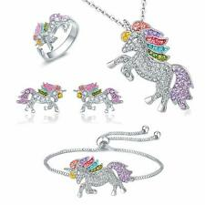 Unicorn Jewelry Set Rainbow Rhinestone Crystal Necklace, Bracelet, Earring,Ring