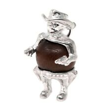 STERLING SILVER LUCKY TOUCH WUD WOOD COWBOY CHARM