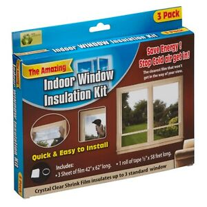 Indoor Window Insulation Kit Draught Stopper Shrink Fit Clear Transparent Film