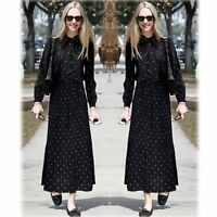Fashion Womens Long Sleeve Vintage Polka Dot Cocktail Party Evening Gown Dress