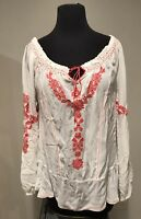Free People Ivory & Melon Boho Embroidered Peasant Tunic Blouse XS