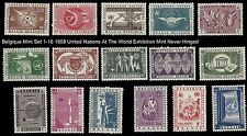 1958 United Nations at the World Exhibition Belgique  Mint Stamp Set #'s 1-16