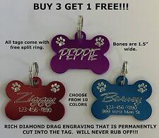 Custom Engraved Bone Paw Print Pet Tag Dog Cat ID Name Animal - 10 COLORS