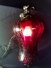 Vintage Antique Red Glass Swag Hanging Lamp Light Fixture Black Metal