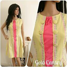 Vintage 1950s 60s Cotton Pink Yellow Stripe Button Floral Mini Dress 50s 12 40