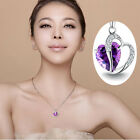 Amazing 925 Silver plated CZ 2 Heart Lady 's Necklace Pendant Stone Hot