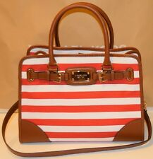 NWT Michael Kors Hamilton Blue & White Stripe Canvas Tan Leather Tote Bag Purse