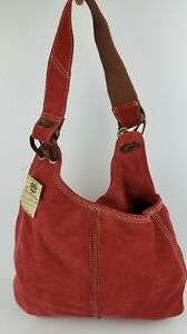 NWT LUCKY BRAND Vintage Inspired Slow Ride Slouchy Red Suede Hobo Bag NEW