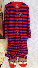NICK & NORA Adult One Piece Pajama Sock Monkey Footie Red Blue Striped Sz M