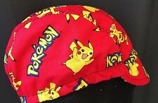 CYCLING CAP POKEMON 100%COTTON PRINT HANDMADE ONE SIZE  O ANY SIZE