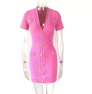ALL SIZES Knit Bandage Bodycon Pink  Mini Dress With Gold Buttons