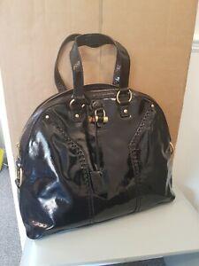 YVES SAINT LAURENT Black Patent Leather Vintage Muse Tote Bag,  VGC.
