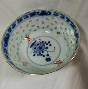 Anituqe/Vintage China export blue porcelain small bowl  Dia 12cm Marked