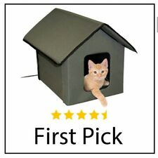 K&H Pet Products Outdoor Heated Kitty House Cat Shelter Olive Green 18 X 22 X 17