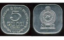 SRI LANKA  5 cents 1978  SUP