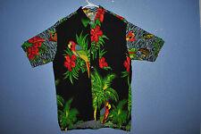 Hawaiian Tropical Vacation Tiki Surf Shirt Mens L Parrot heads & Buffett Fans