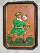 Plaque terre cuite décor personnage au tambourin Primavera