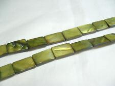 15 x vadrouille teints plat oblongue les perles: ob44 green