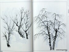 book album of Chinese trees painting baimiao xianmiao line drawing brush ink art