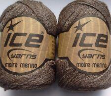2 X 30g De Lujo Suave Merino/hilo de seda. Marrón. tejido/crochet/tejido