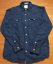 Levis Mens Blue Checked Long Sleeve Pearl Snap Western Shirt Sm, Regular Fit