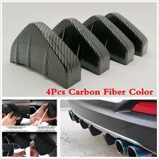 4Pcs Car Rear Bumper Diffuser Fin Spoiler Lip Wings Splitter Carbon Fiber Color