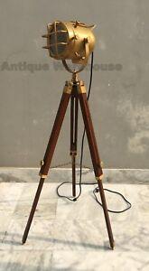 Modern Brass Antique Spot Light Nautical Floor Lamp With Tripod Searchlight