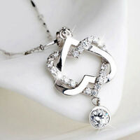 Women Girl Silver Color Double Heart Zircon Crystal Pendant Chain Necklace Gift